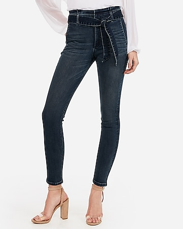super high waisted denim perfect paperbag waist ankle leggings