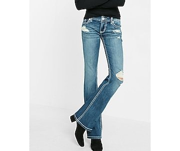 low rise thick stitch stretch bootcut jeans