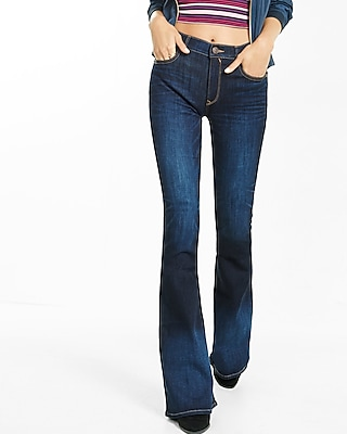 High Waisted Dark Wash Stretch Bell Flare Jeans | Express