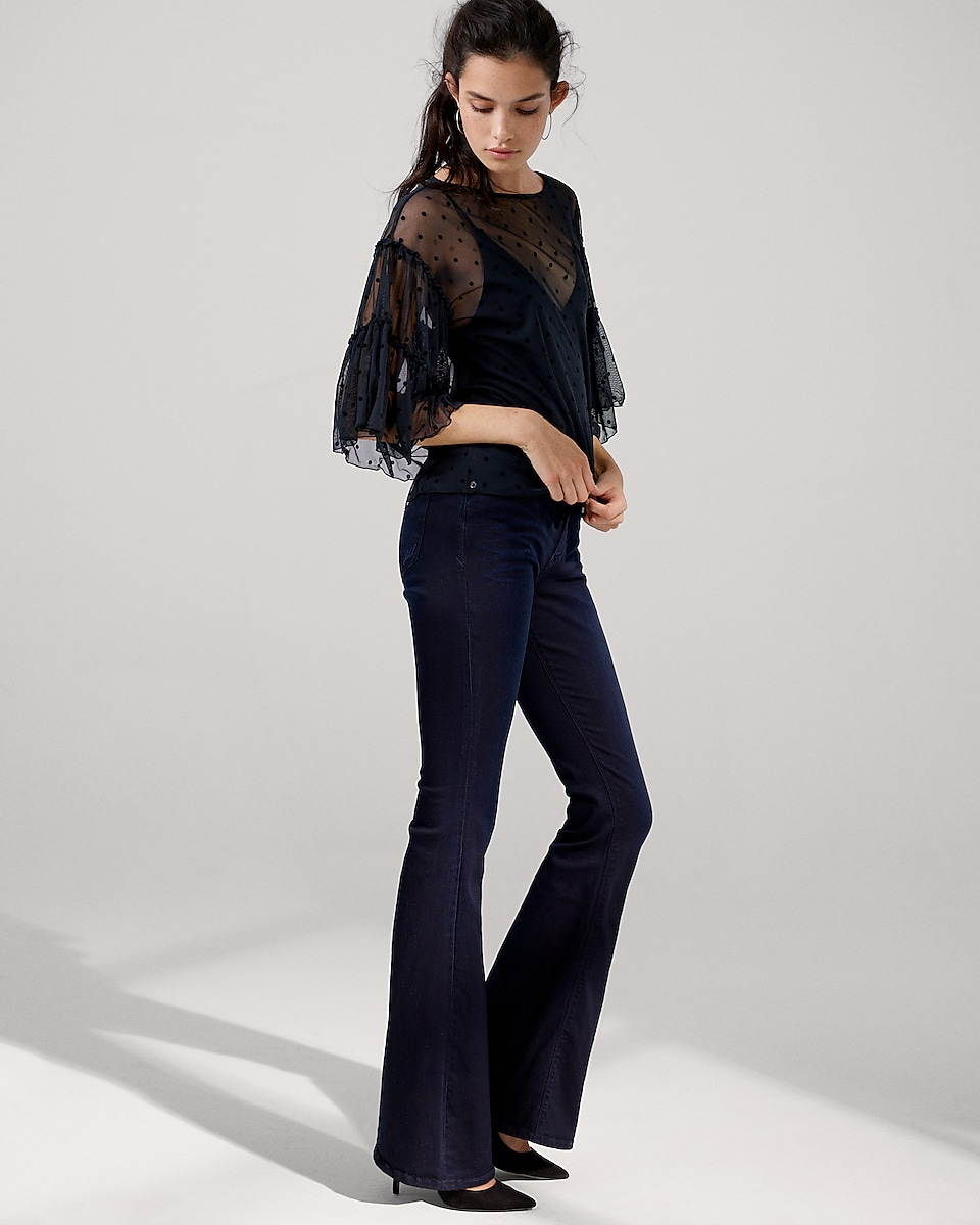 Mid Rise Stretch supersoft Bell Flare Jeans | Express