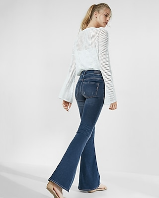 High Waisted Button Fly Stretch supersoft Bell Flare Jeans | Express