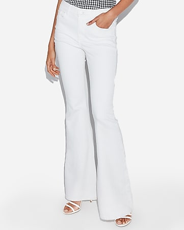 high waisted white bell flare jeans