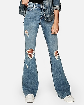 Mid Rise Ripped Stretch Bell Flare Jeans by Express