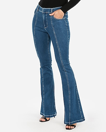 81286215d9f Express View · high waisted denim perfect seamed bell flare jeans