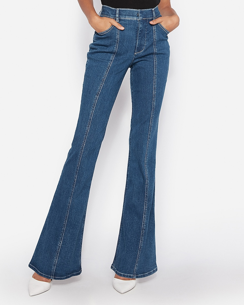 petite high waisted denim perfect seamed bell flare jeans