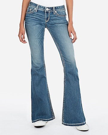 low rise thick stitch bell flare jeans
