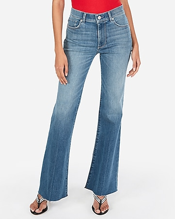 high waisted raw hem flare jeans