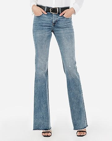 mid rise denim perfect raw hem flare jeans