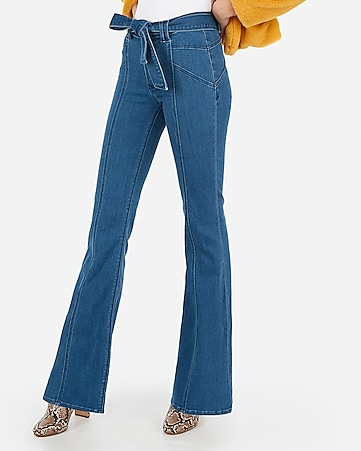 super high waisted dark wash belted bell flare jeans