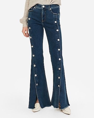 high waisted denim perfect button-up bell flare jeans