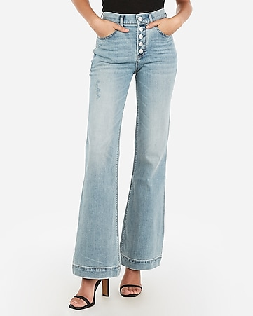 high waisted eco-friendly button fly bell flare jeans