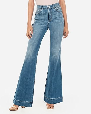 high waisted light wash bell flare jeans