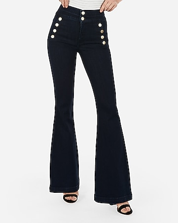 super high waisted denim perfect button front bell flare jeans