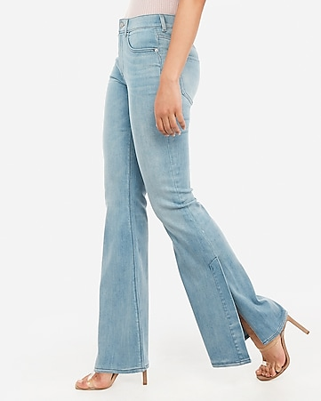 high waisted side slit bell flare jeans