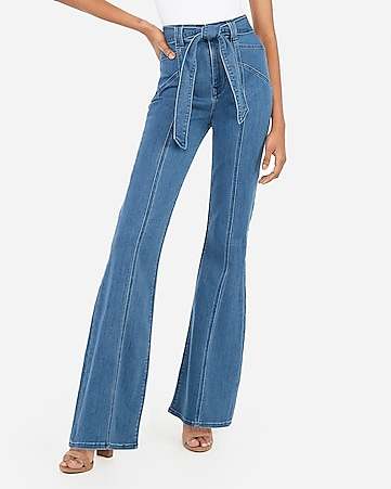 super high waisted seamed dark wash bell flare jeans