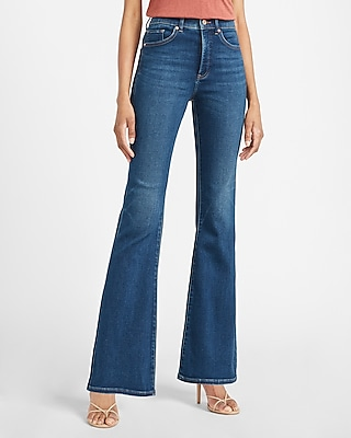 express high waisted luxe comfort knit dark wash flare jeans