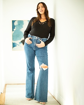 AILMY Womens Elegant Jeans Flare Bell Bottom High-Rise Micro-Stretch Flare Pants with Belt