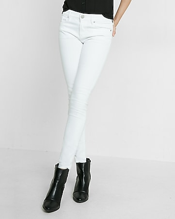 petite white mid rise stretch jean leggings