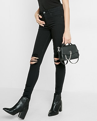 Petite Black High Waisted Distressed Knee Stretch Jean Leggings by Express