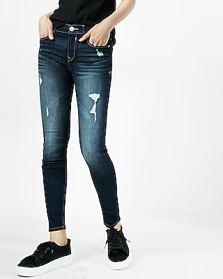 petite mid rise dark distressed stretch jean leggings