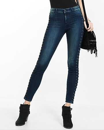 High Waisted Lace-up Jean Legging   Express