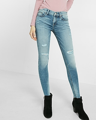 Eco-friendly Mid-rise Distressed Stretch Jean Legging   Express