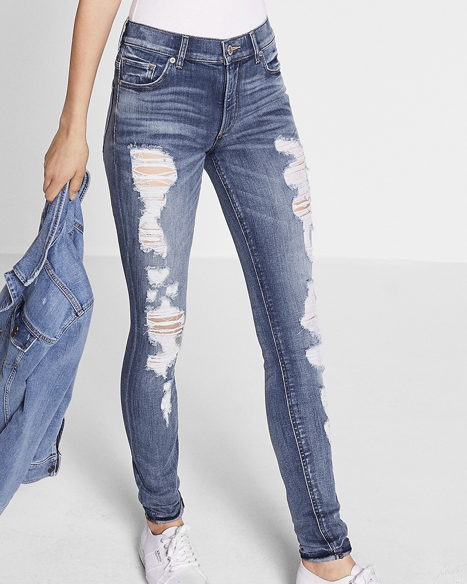 High Waisted Distressed Stretch Jean Legging | Express
