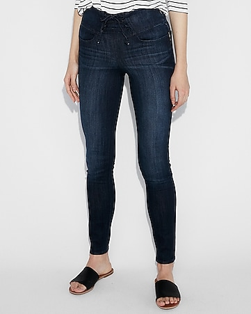 high waisted corset front stretch jean leggings