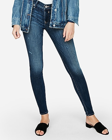 mid rise medium wash jean leggings