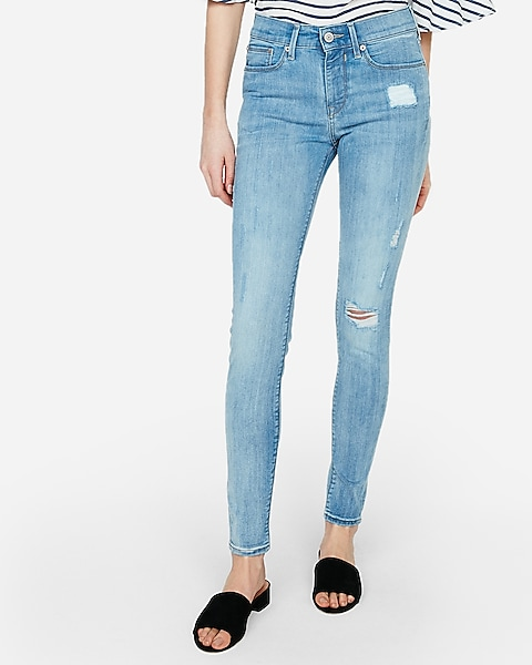 Mid Rise Light Wash Ripped Jean Leggings Express