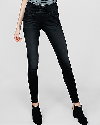 High Waisted Black Lace Up Jean Leggings by Express