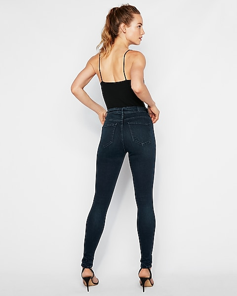 800e0a897bbe83 High Waisted Denim Perfect Curves Dark Wash Jean Leggings | Express