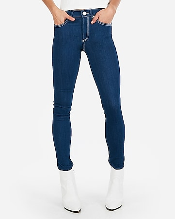 mid rise contrast stitch jean leggings
