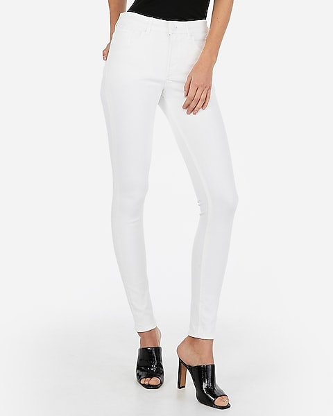 High Waisted Denim Perfect White Jean Leggings