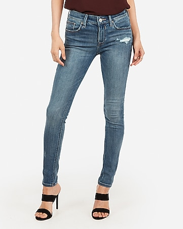 mid rise medium wash ripped jean ankle leggings