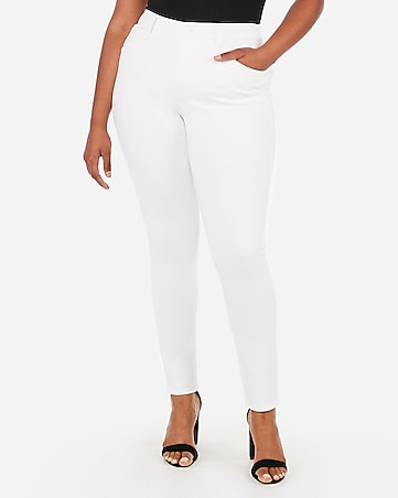 high waisted denim perfect curves white jean leggings