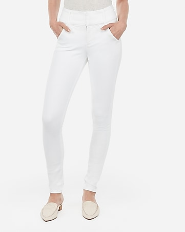 high waisted denim perfect white leggings