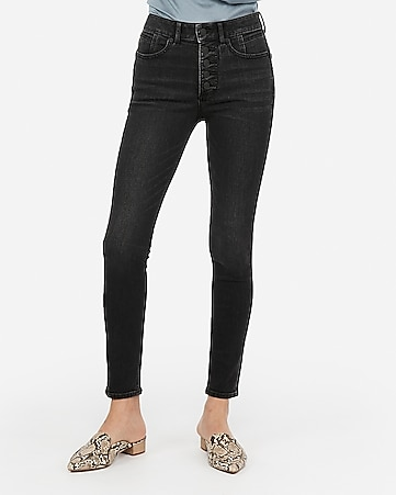 high waisted denim perfect lift black button fly ankle leggings