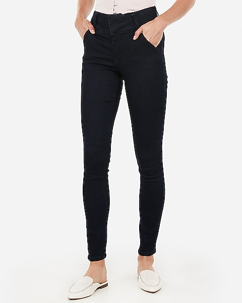 9df6f8704ff521 High Waisted Denim Perfect Curves Wide Waistband Leggings | Express