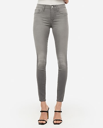 mid rise gray jean leggings