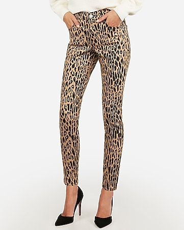 high waisted leopard print ankle jean leggings