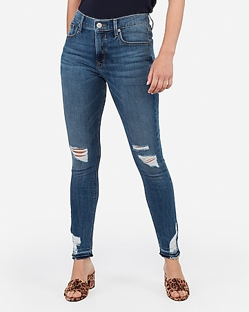 mid rise light wash ripped raw hem ankle leggings