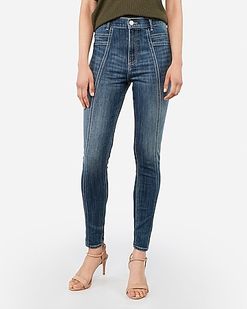 super high waisted stitched jean ankle leggings