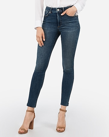 high waisted denim perfect lift raw zip hem ankle leggings
