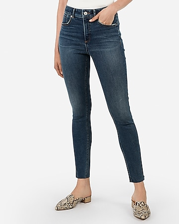 high waisted denim perfect curves lift raw hem zip ankle leggings