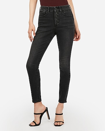 High Waisted Denim Perfect Curves Lift Black Button Fly Ankle Leggings by Express