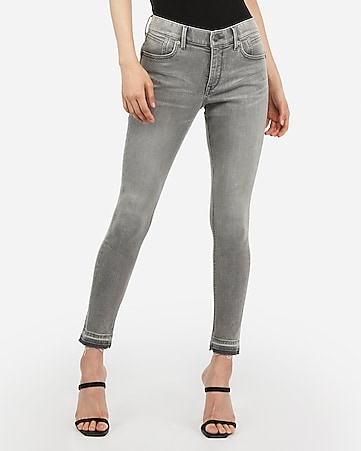 mid rise denim perfect curves lift gray raw hem ankle leggings