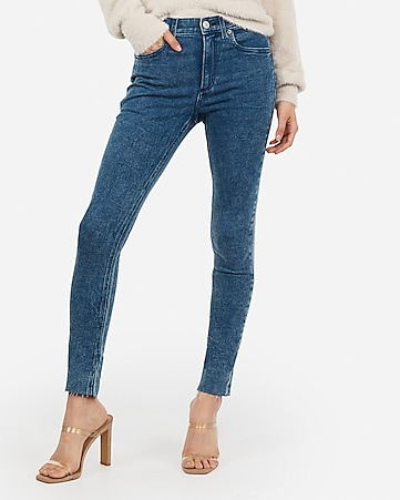 high waisted marble wash raw hem jean leggings