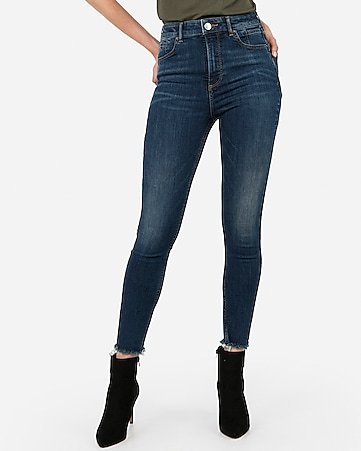 super high waisted denim perfect lift raw hem ankle leggings