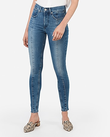 high waisted denim perfect lift seamed ankle leggings